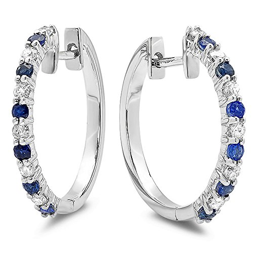 14k White Gold Round Blue Sapphire & White Diamond Ladies Huggies Hoop Earrings by DazzlingRock Collection