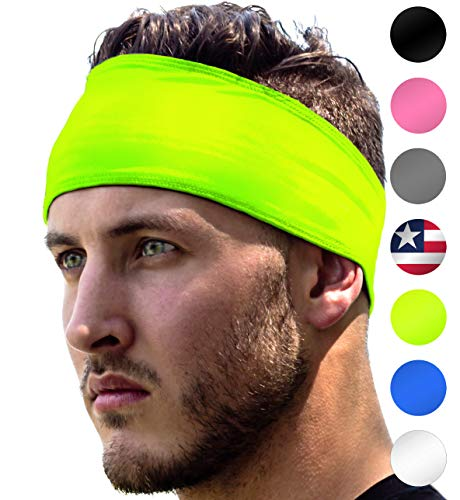 High Visibility Headband: Sport Headbands For Running & Jogging Safety at Night. Fits Women Men Kids. Replace Reflective Gear Vest Jacket Shirt For Bright Visible Sweatband. High-Vis Florescent Yellow (Running Ear Band)