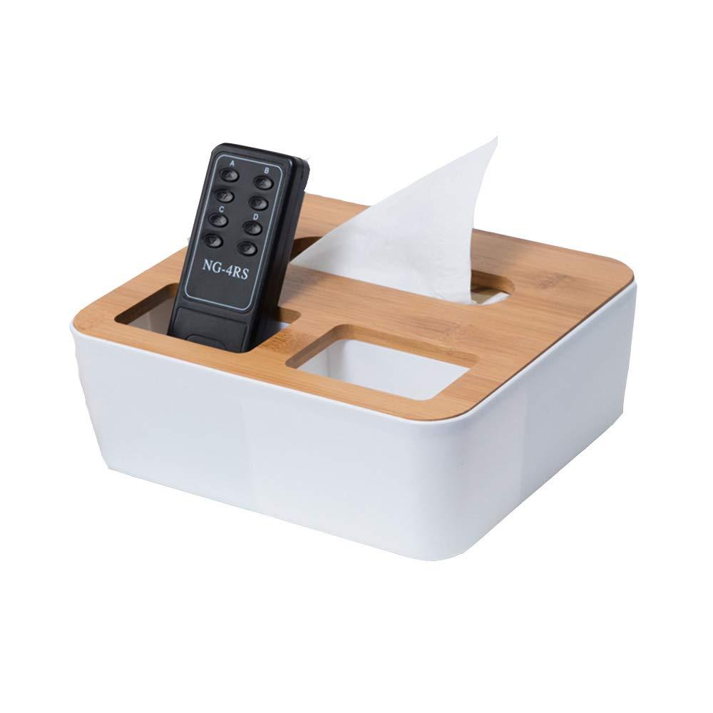 Esdella Bamboo Wood Tissue Holder, Desk Organizer-Remote Controller Holder, Mobile Phone Holder Rectangular For Home, Office, Car