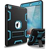XIQI New iPad 9.7 2018 Case,iPad 6th Generation Case Three Layer Kickstand Armor Defender Heavy Duty Shock-Absorption Rugged Hybrid Protective Case for Apple iPad 9.7 2017/2018 Release,Black Blue