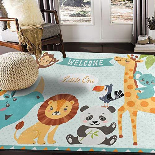 ALAZA Cute Jungle Animal Lion Bird Monkey Area Rug Rugs Mat for Living Room Bedroom ()