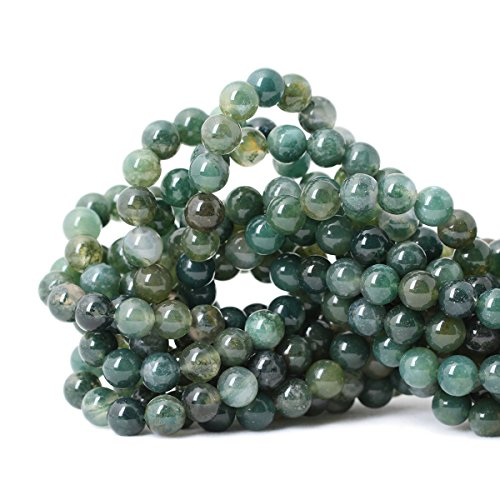 Qiwan 45PCS 8mm Moss Agate Gemstone Loose Beads Natural Round Crystal Energy Stone Healing Power for Jewelry Making 1 Strand 15