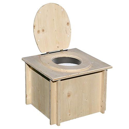 Toilette sèche en Bois avec Seau Plastique et bavette de Protection INOX - Livré monté - Fabrication Artisanale Française