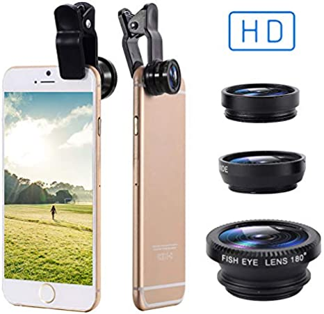 0.67XWide Angle Lens twbbt 3 in 1 Cell Phone Lens,180/° Fisheye Lens 10X Macro Lens Clips-On Cell Phone Lens for Samsung//iPhone//Most Smartphones