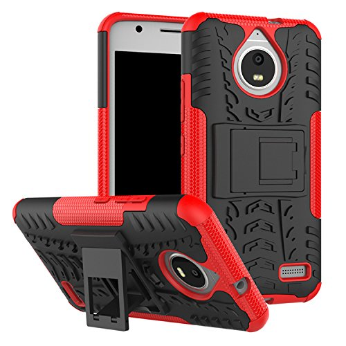BestTalk Moto E4 Plus Ultra Hybrid Dazzel Series with Kickstand Shockproof Back Cover Red
