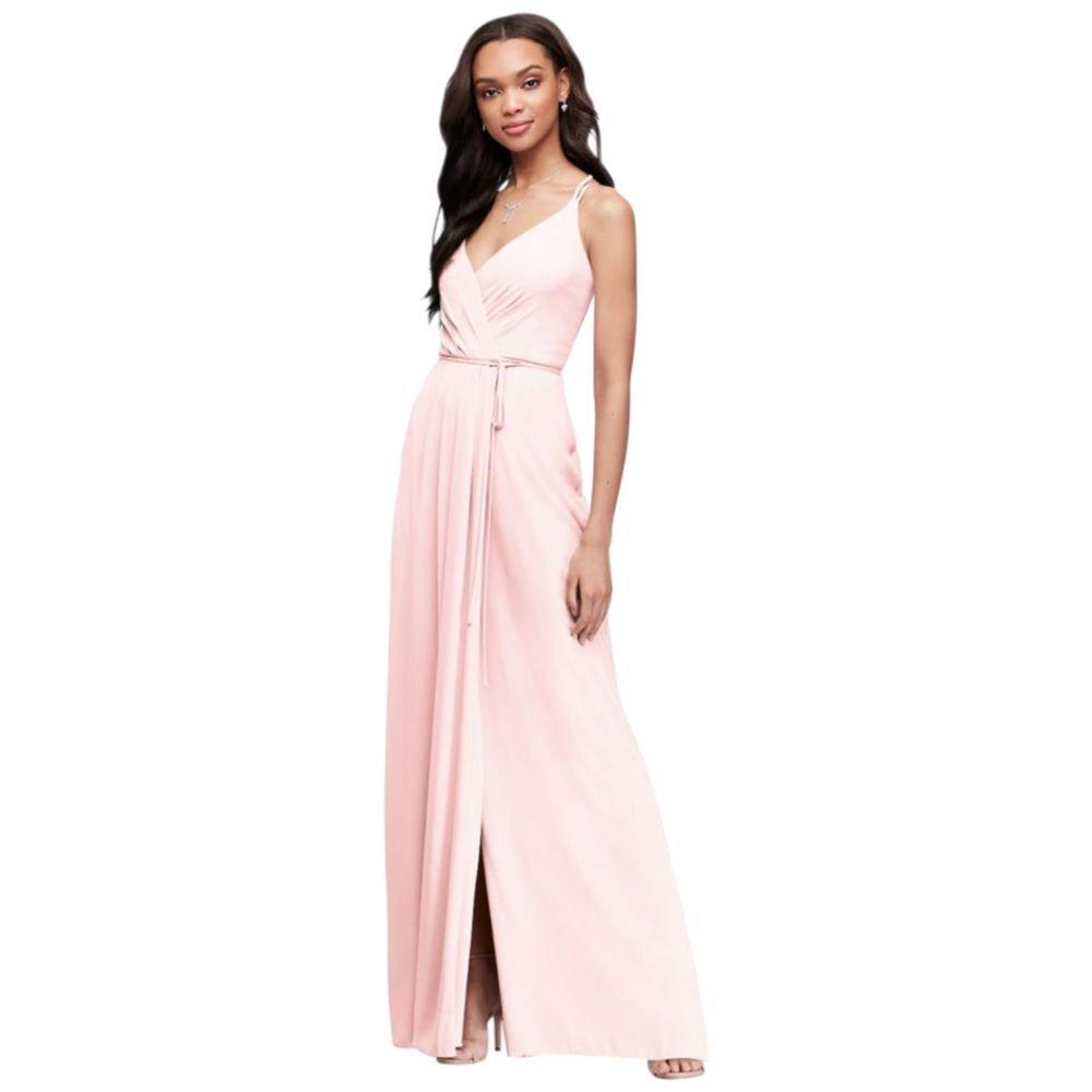 0f10f66de9f Davids Bridal Long Bridesmaid Dress With Lace Bodice Style F19328 ...