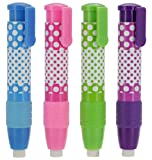 Emraw Dot.Ted Two Color Retractable Soft Stick Vinyl Eraser - Nonabrasive - Refillable & Retractable - Colors Included: Green, Blue, Pink & Purple (4-Pack)