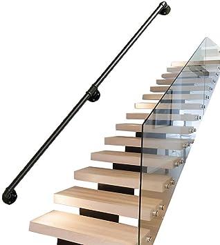 Soporte Kit Negro Escalera Escaleras Pasamanos Barandilla Carril |para Discapacitados, Ancianos O Niño En El Interior Exterior Interior Al Aire Libre |De Metal De Hierro Forjado De Diseño De Tuberías: Amazon.es: Bricolaje