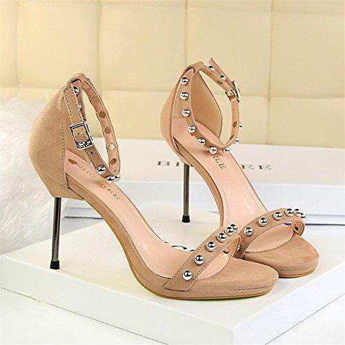 z&dw Elegantes tacones de tacón alto resistente al agua de mesa de terciopelo superficies de metal perlas con sandalias Caqui