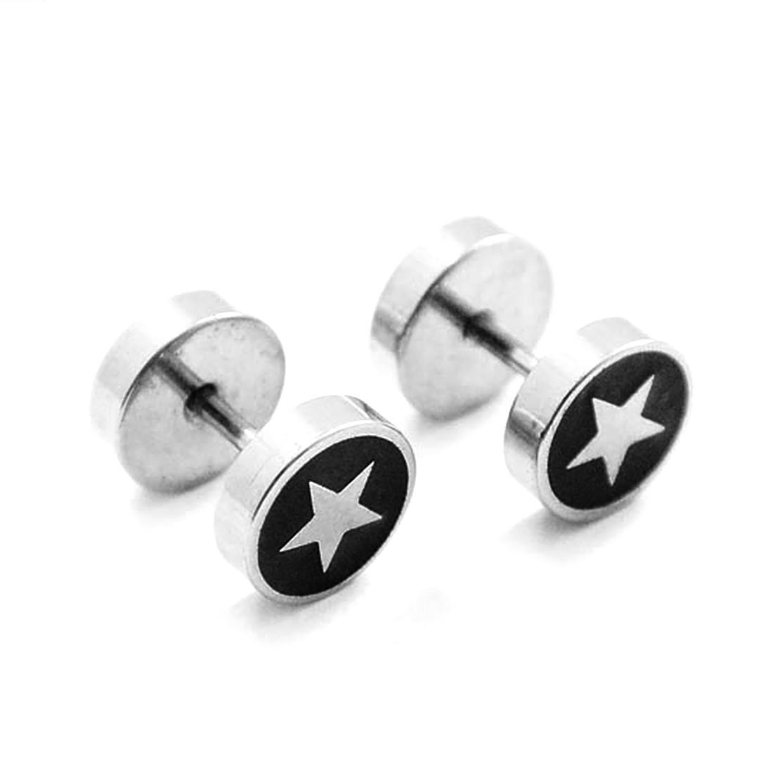 FOXI YOUTH Double Side Barbell Screw Back Stainless Steel Earrings(Silver Star) SE00067-1