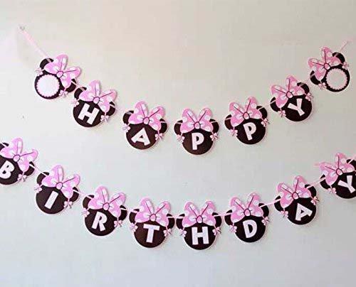 Minnie Mouse Banner (Perfec Arts Cartoon Minnie Bow Happy Birthday Party Supplies Decoration)