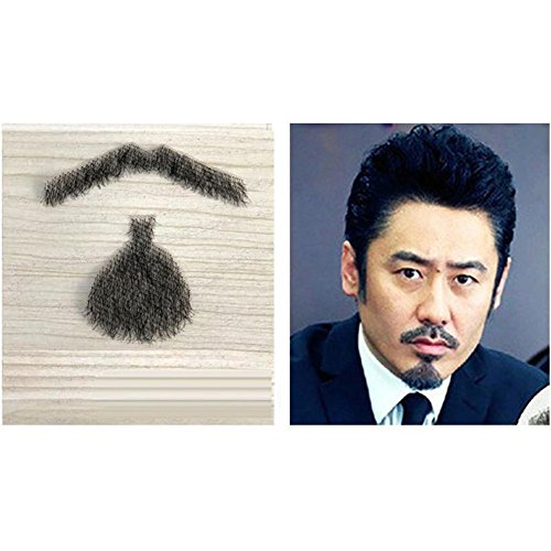 New Costume Drama Movies (100% Human Hair Full Hand Tied Fake Mustache Beard Makeup for Entertainment/Drama/Party/Movie Prop (#3))