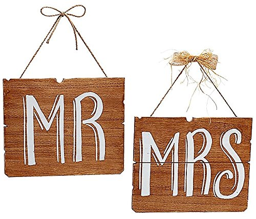 Tie Back Burton (Burton and Burton Wedding Party Sign Mr and Mrs Hanging Wooden Reception Chair Marker Plaque in Natural Brown Woodgrain, Soft Chalk White Painted Letters 11 in L x 9 in H x ½ in D 1 set of 2 per order)