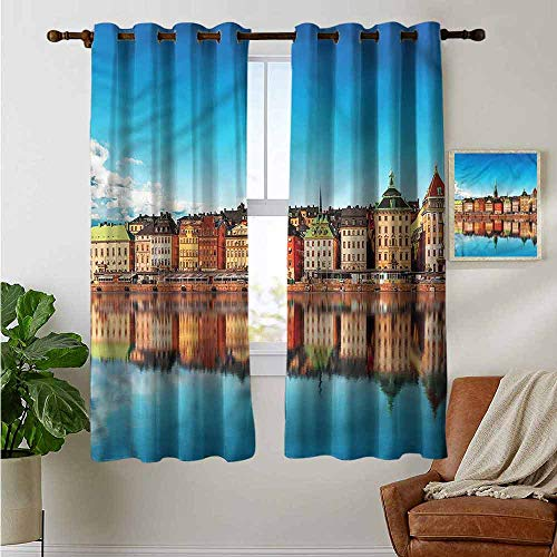 Decor Curtains by Wanderlust,Old Town Gamla Stan Pier,Wide Blackout Curtains, Keep Warm Draperies,1 Pair 42