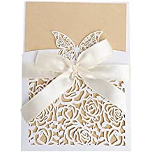 cici store 10Pcs Hollow Lace Wedding Invitation Cards Kit with Envelopes Personalized Greeting Cards