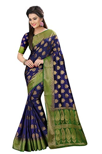 Designer Sarees Woven Work Banarasi Art Silk Saree for women With Unstitched Blouse Piece (Navy Blue)