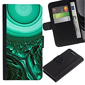 iKiki Tech / Cartera Funda Carcasa - Cell Biology Green Teal Mysterious - Sony Xperia Z1 Compact D5503