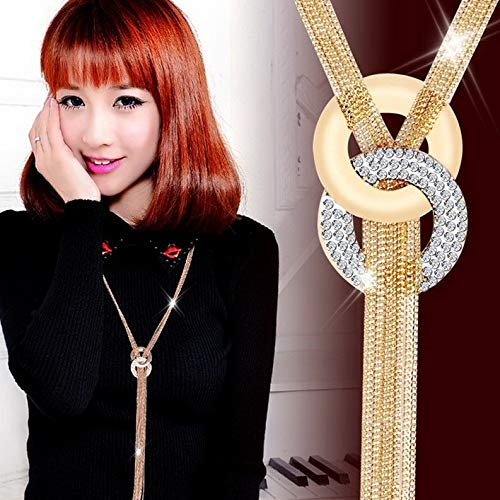 Campton Women Luxury Full Cubic Zircon Tassels Pendant Chain Sweater Necklace Jewelry | Model RNG - 11607 |