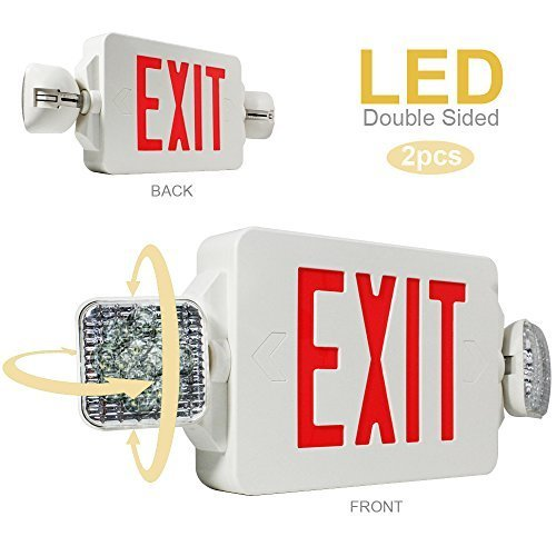 eTopLighting 2PCS LED Exit Sign Emergency Lighting Emergency LED Light (UL924, ETL listed) / Rotate LED Lamp Head / Red Letter, EL2CR-2 (White Exit Sign)