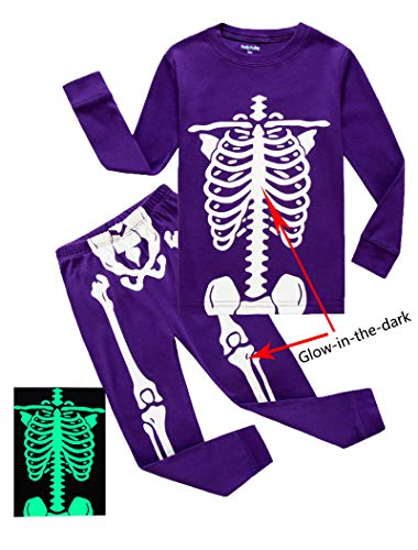 Toddler Girls Long Sleeve Pajamas - Family Feeling Little Girls Golw-in-The-Dark Skeleton Halloween Costumes Pajamas Sets Long Sleeve Kids Toddler Pjs Size 3T Purple