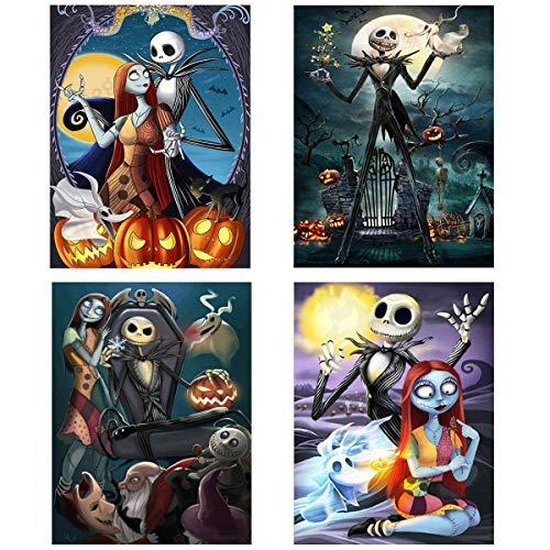 Paintings Of Halloween (4 Pack Halloween 5D Diamond Painting Kits Full Drill, Halloween Jack Skellington Pumpkin Skull Diamond Painting Rhinestone Painting Sets for Art Craft Home Decoration, 12 x 16)