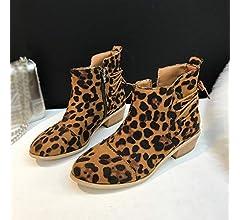 9192166eb09f54 Cooljun Winterstiefel Damen Stiefeletten Stiefel Frauen Leopard Muster  Wildleder Martin Stiefel Schuhe Winter Kurze Stiefel Schlupfstiefel   Amazon.de  ...