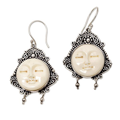 NOVICA .925 Sterling Silver Bone Dangle Hook Earrings 'Moon Princess'