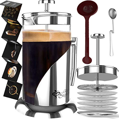 French Press Coffee & Tea Maker Complete Bundle | 34 oz | BEST Coffee Pot with 304 Stainless Steel & Double German ()