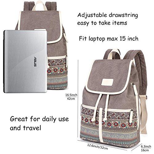 Casual Backpack Purse for Women,Canvas School Backpack Shoulder Bag Large Capacity Rucksack Bookbag fit Womens girls Ladies Travel Daypack by BTOOP (Image #1)