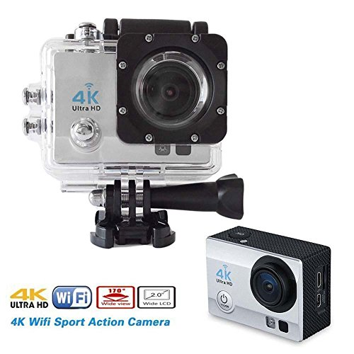 Brotherhood Ultra HD 4k Wifi Helmet Waterproof Sport Action Camera As Go Professional Underwater Camcorder + HDMI Output + [ Free Accessories For GoPro Cam | SJCAM | Eken H9] Silver