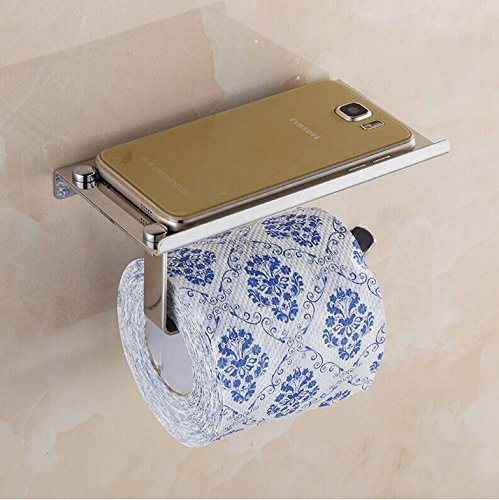 Avtion SUS 304 Stainless Steel Toilet Paper Holder Storage Bathroom Kitchen Paper Towel Dispenser Stick On Sticky Tissue Roll Hanger (Mode 2) by Avtion