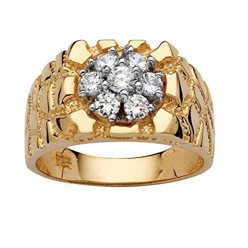Men's White Cubic Zirconia 18k Gold over .925 Sterling Silver Nugget Ring Size - Gold Nugget White Ring