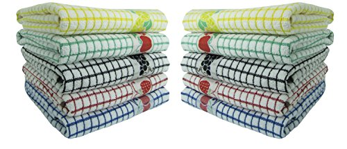 Fecido Fruity Kitchen Collection Complete Set Dish Towels - Heavy Duty - Super Absorbent - 100% Cotton - The Best European Tea Towels With Fruit Design, 10 Pack (Fruit Design Kitchen)