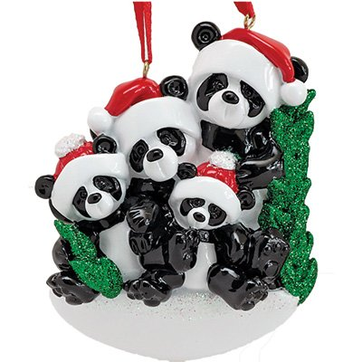 Personalized Bamboo Panda Bear Family of 4 Christmas Ornament for Tree 2018 - Siblings Friends in Santa Hat Holding Hands - Glitter Green Winter Holiday Tradition - Free Customization by (Personalized Snowman Christmas Stocking)