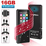 MP3 Player with Bluetooth,Digihero 16GB mp3 Player with FM Radio/Voice Recorder/Pedometer, Lossless Sound,65Hours Playback,HD Sound Quality Earphone, with Earphone Armband for Sport Running