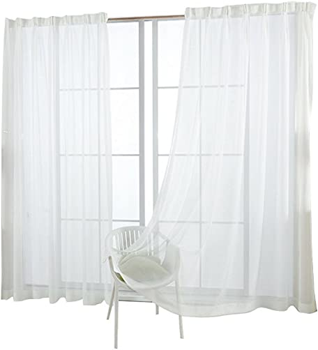 WINOMO Fashion Cross Curtain Yarn For Bedroom Rustic Sheer Curtain Tulle White