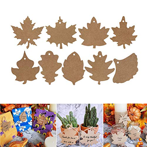 VintageBee 360 PCS Favor Tags Thank You Gift Tags Place Cards Name Tags Blank Cards Hang Tags Kraft Paper Tags Maple Fall Leaves Shape - 3.2