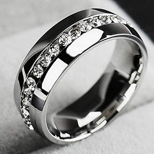Campton Men Women Couple Stainless Steel Wedding Ring Titanium Engagement Band Sz7-11 CZ   Model RNG - 12019   9-19mm