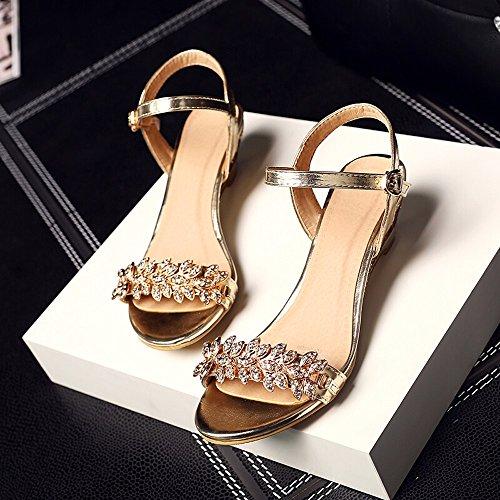 Shoes Diamantes de Verano Abrir Los Dedos con Damas Sandalias Señoras Dating Sandalias 888-Gold