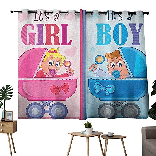 bybyhome Gender Reveal Grommets Printed Darkening Curtains Girl and Boy Baby Carriage Looking Newborn Announcement Theme Print Curtain Living Room Pale Pink and Blue W96 x L72 -