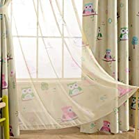 Melodieux Cartoon Owl Sheer Rod Pocket Voile Curtain...