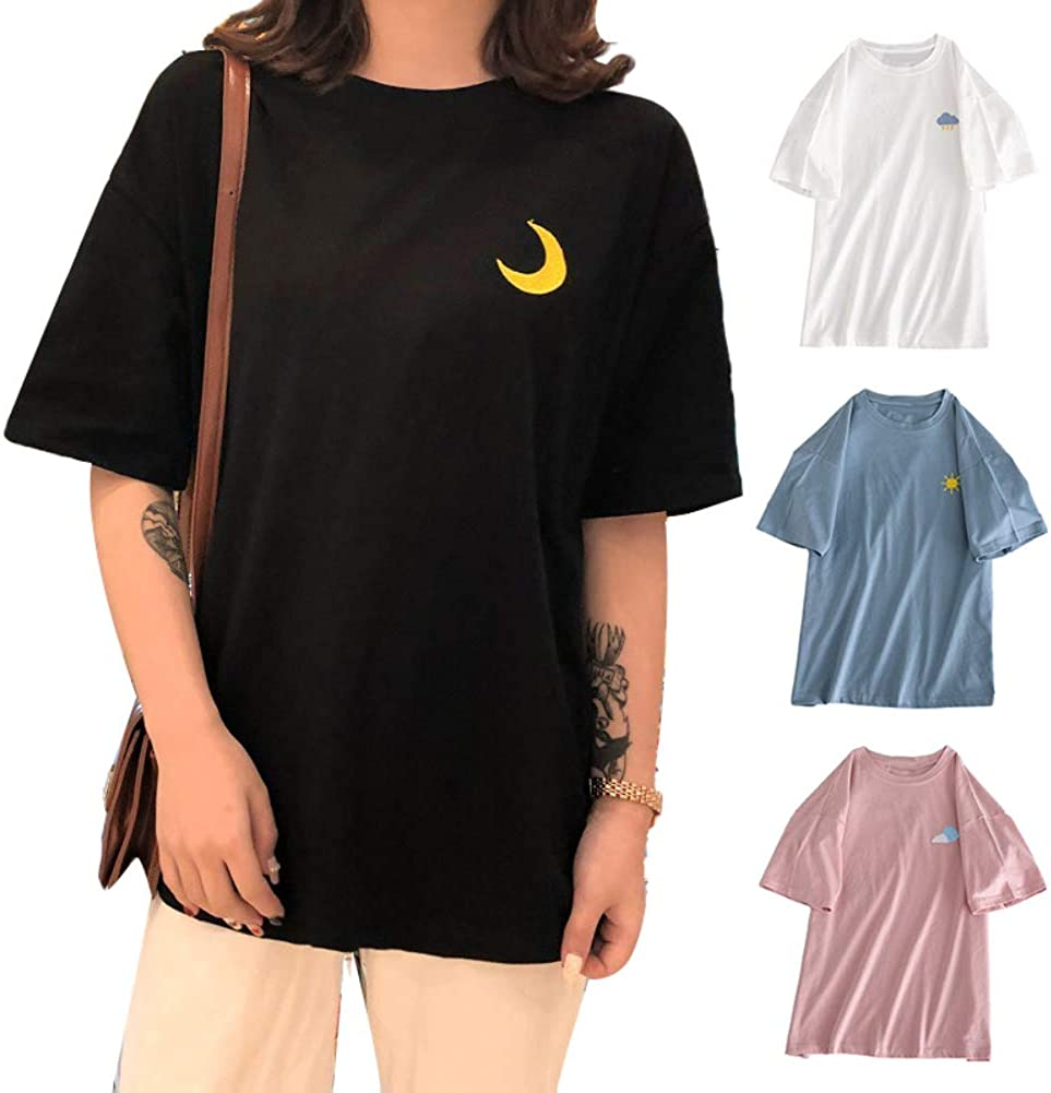 HaHawaii Womens T-Shirts,Women Embroidery Cloud Moon Weather Short Sleeve O Neck Loose T-Shirt Blouse White L
