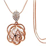 Best Necklaces With Long Chains - Z-Jeris Fashion Rhinestone Crystal Stuffing Hollow Flower Pendant Review
