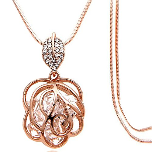 Z-Jeris Fashion Rhinestone Crystal Stuffing Hollow Flower Pendant Long Chain Necklace (Rose Gold) Locket Rose Gold Necklace