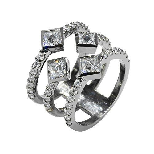 (Nicole Miller New York Pyramid Quad Cigar Band Ring, Black Rhodium Plated, Size 6)