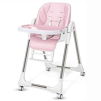 Trona Bebe, Silla Alta Plegable con Bandeja, Asiento Elevador de alimentación Ajustable para bebés/bebés/niños pequeños (Color : Pink): Amazon.es: Hogar