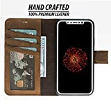 iPhone X/XS Detachable Leather Wallet Case with Magnetic Flap Closure and Premium Snap-on Back Cover, Book Style Cover with Card Holders and Kickstand in a Gift Box (Antique Coffee)