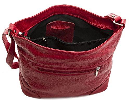 Big Handbag Shop - Bolso de tela de piel auténtica para mujer Talla única Deep Taupe
