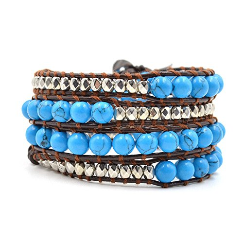 Dentist Lion Halloween Costume (Victoria Echo Fashion Blue Turquoise Mix with Faceted Alloy Beads Leather Wrap Bracelet,6mm Beads,4 Wraps)