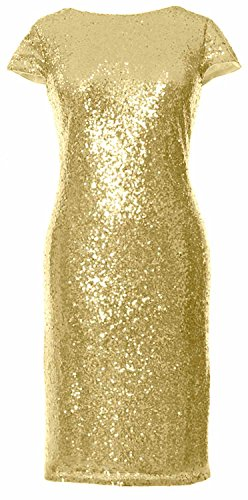 MACloth Gorgeous Cap Sleeves Short Bridesmaid Dress Sequin Cocktail Formal Gown Light Gold